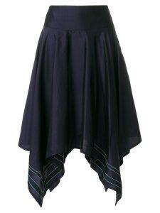 Thom Browne Scarf Hemline Below-knee Silk Skirt - Blue