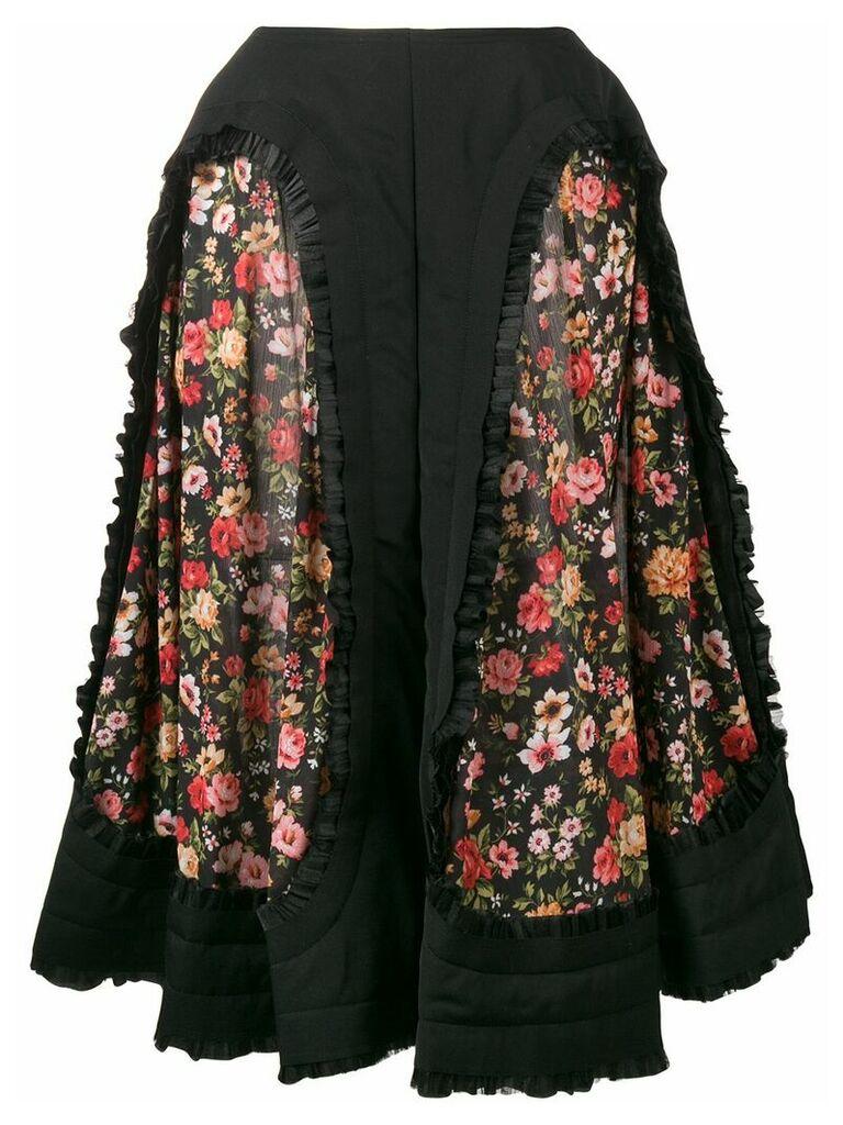 Comme Des Garçons floral panelled midi skirt - Black
