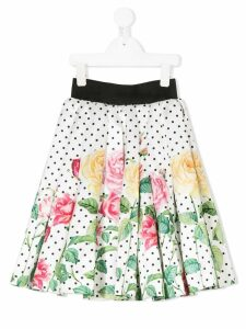 Love Made Love floral print full skirt - White