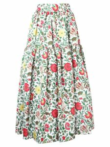 La Doublej tiered floral skirt - White