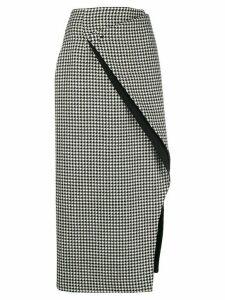 Maison Flaneur slashed houndstooth skirt - Black