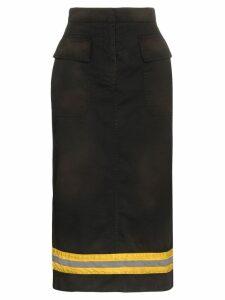 Calvin Klein 205W39nyc High-Waist Reflective Stripe Midi Skirt - Black