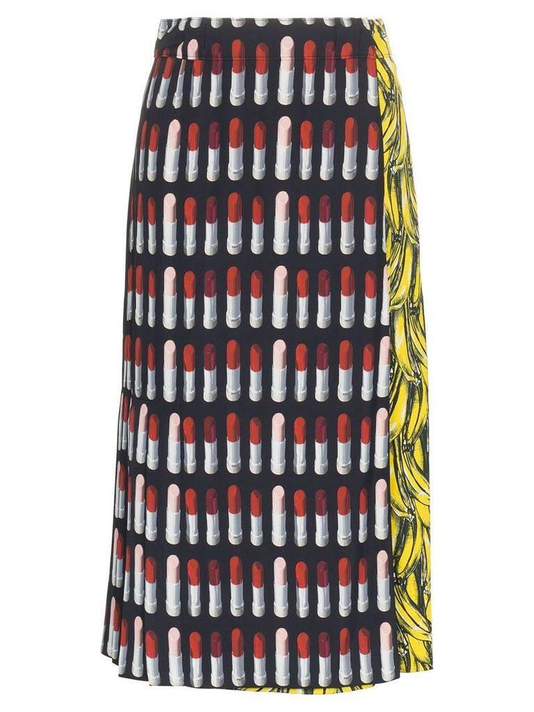 Prada lipstick banana-print skirt - Black