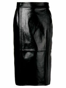 Givenchy high rise leather midi skirt - Black