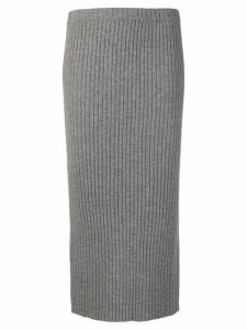 Allude ribbed knit midi skirt - Grey