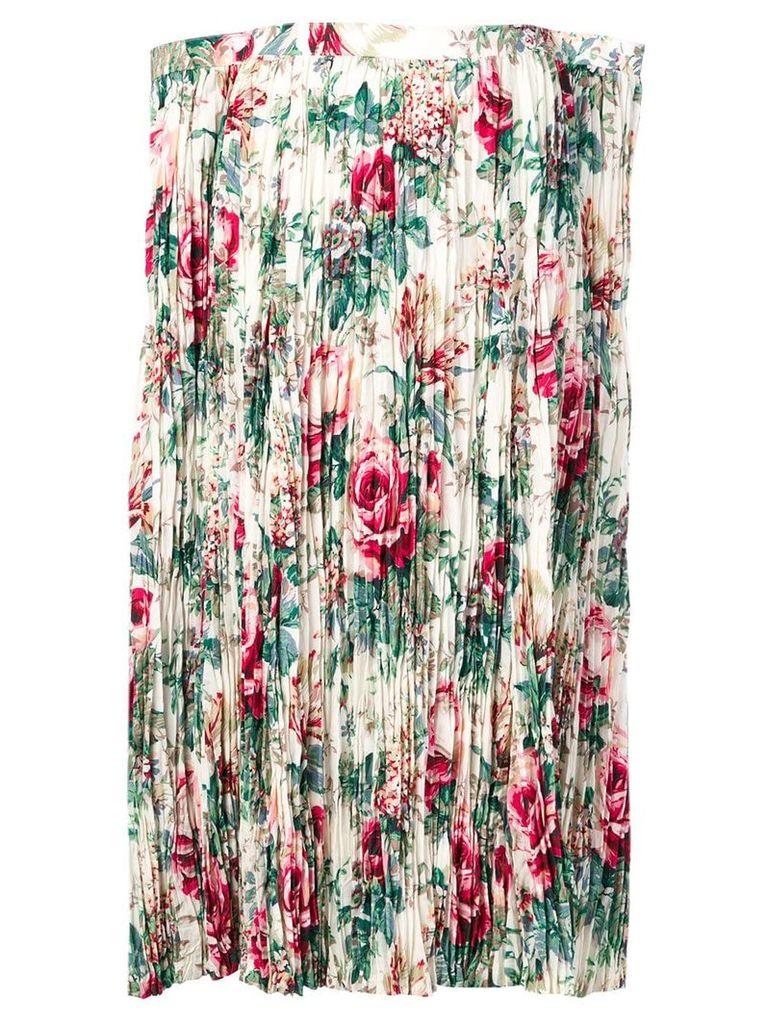 Junya Watanabe floral print pleated skirt - White