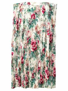 Junya Watanabe floral print pleated skirt - White