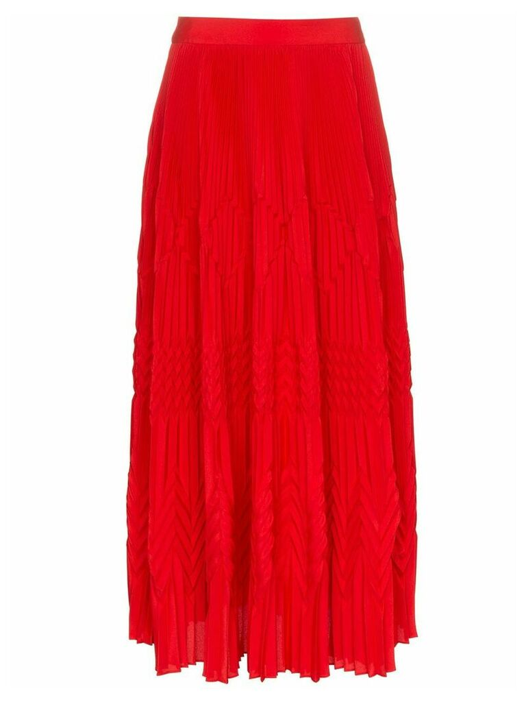Givenchy high waist geometric pleated skirt - Red