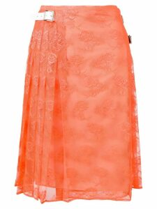Christopher Kane pleated floral lace skirt - Yellow