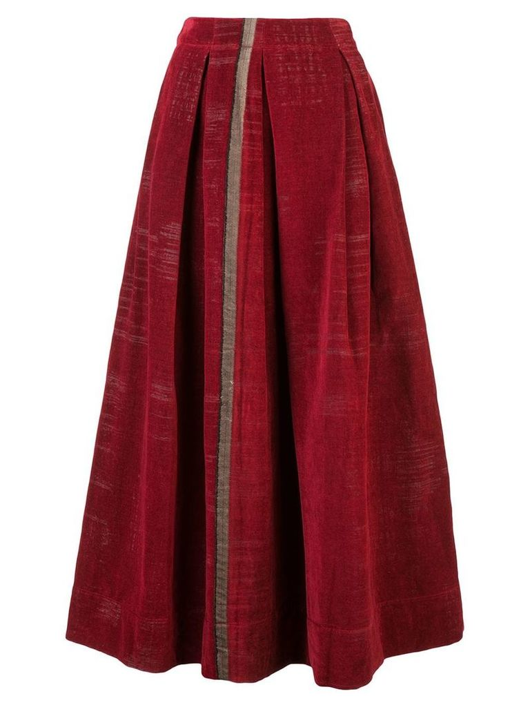 Uma Wang stripe detail midi skirt - Red