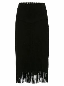 Andrea Bogosian midi skirt with fringes - Black