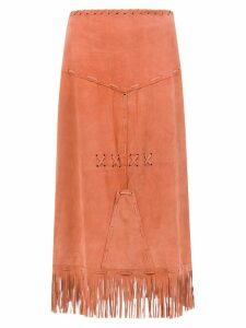 Andrea Bogosian midi skirt with fringes - Yellow