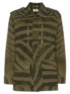 Saint Laurent zebra print parka coat - Black