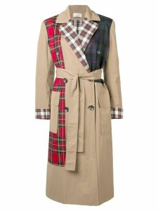 Isa Arfen check mix trench coat - Neutrals