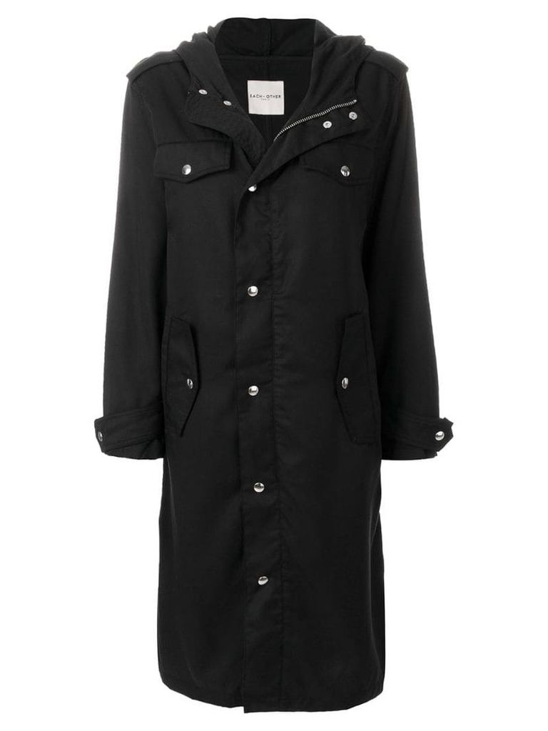 Each X Other text print hooded coat - Black