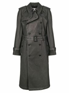 Maison Margiela contrast stitch trench coat - Black