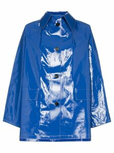 Kassl patent button down raincoat - Blue