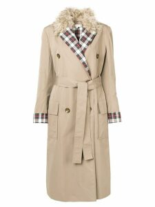 Isa Arfen tartan lapel trench coat - Neutrals