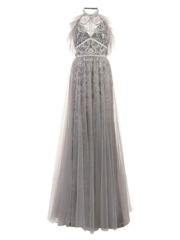 Marchesa Notte tulle halterneck gown - Grey