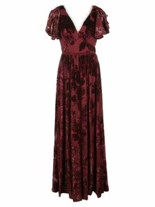 Marchesa Notte floral print v-neck gown - Red
