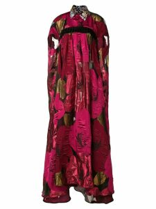 Talbot Runhof oversized poppy print cape dress - Pink