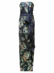 Marchesa Notte sequined peony evening gown - Blue