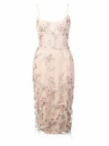 Marchesa Notte feather embroidered sleeveless dress - Pink
