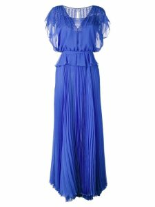 Talbot Runhof pleated skirt layered gown - Blue