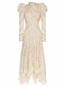 Zimmermann unbridled chevron panel silk dress - Neutrals