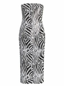 Halpern zebra print sequin embellished midi dress - Black