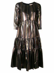 Black Coral stripe dress - Metallic