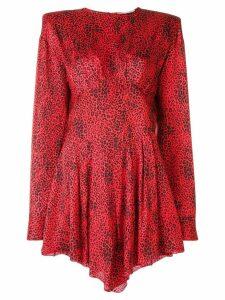 Alessandra Rich pleated leopard pattern dress - Red