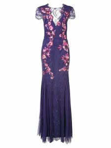 Marchesa Notte plunge back floral dress - PURPLE