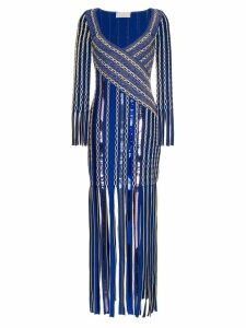 Peter Pilotto Fringe Jacquard Midi-Dress - Blue