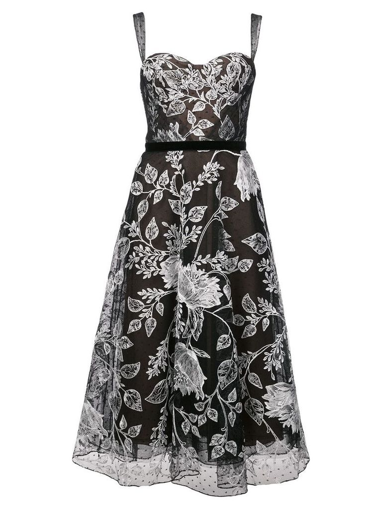 Marchesa Notte floral embroidered flared dress - Black