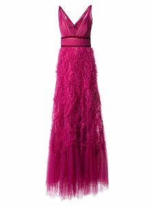 Marchesa Notte ruffled tulle gown - Pink