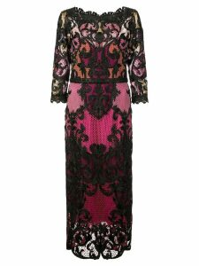 Marchesa Notte 3/4 sleeve colour block dress - Pink