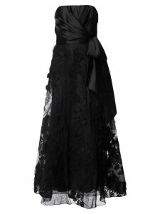 Marchesa Notte knot-detail lace gown - Black