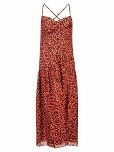 Michelle Mason leopard print midi dress - Red