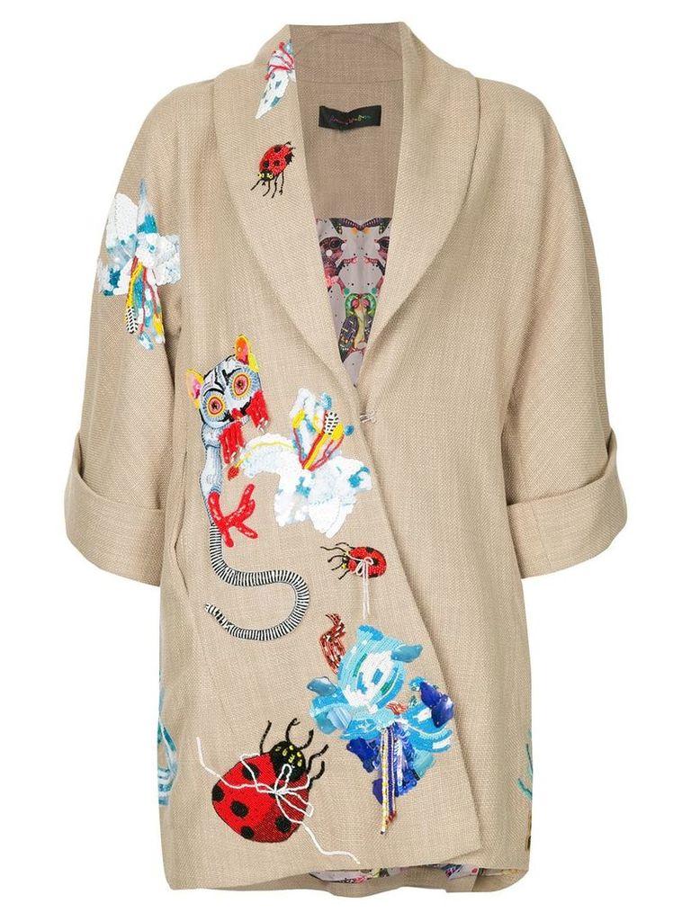 Romance Was Born ritual embroidered coat - Neutrals