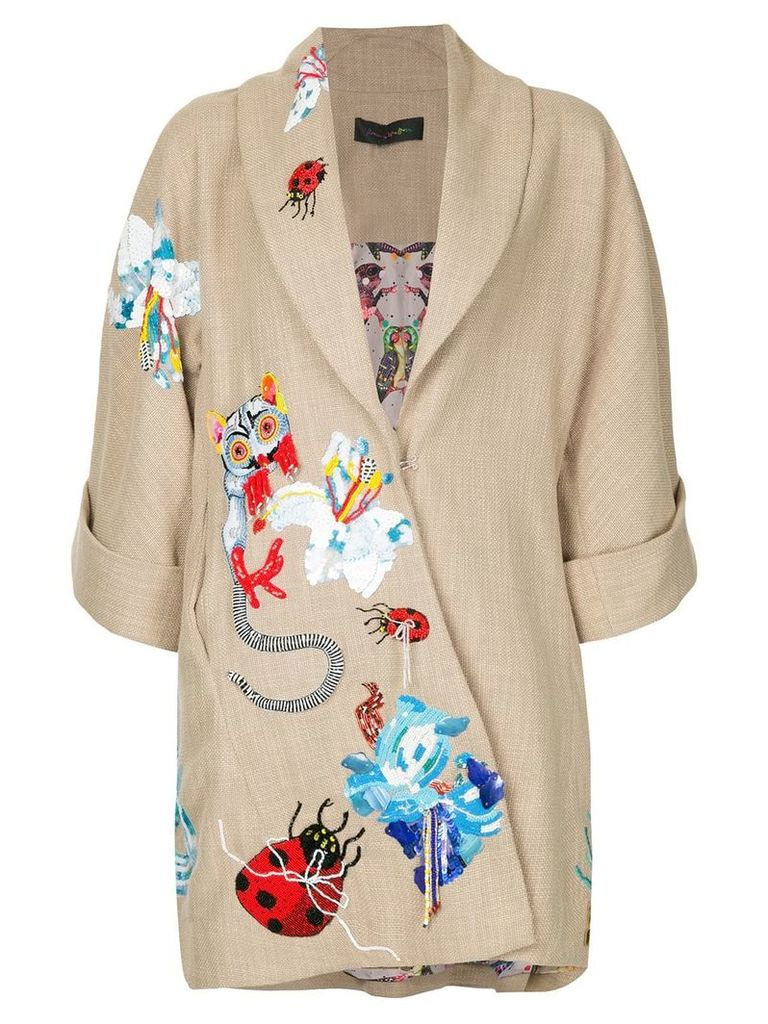 Romance Was Born ritual embroidered coat - Neutrals