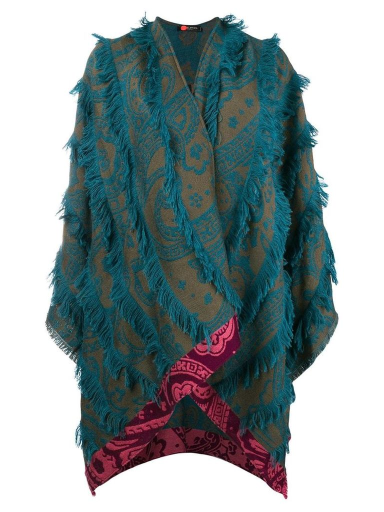 Etro fringed printed cape - Green