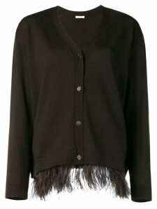 P.A.R.O.S.H. ostrich feather cardigan - Brown