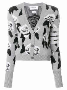 Thom Browne Boucle Rose Jacquard V-Neck Cardigan - Grey