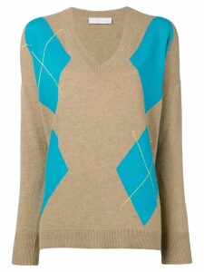 Giada Benincasa argyle V-neck pullover - Neutrals