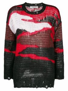 Valentino colour block knitted sweater - Black