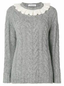 Philosophy Di Lorenzo Serafini frill trim cable knit sweater - Grey