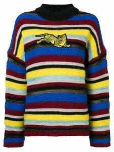 Kenzo striped Tiger patch sweater - Yellow