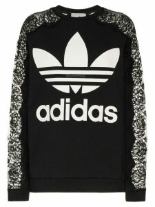 Stella McCartney X adidas logo printed lace detail jumper - Black