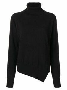 Zanone asymmetric roll neck jumper - Black